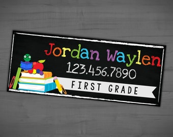 Custom Name Tag - Personalized School Supply Labels - Back To School Stickers - Printable or Printed - SHIPPING INCLUDED - 2.5 x 1 inches