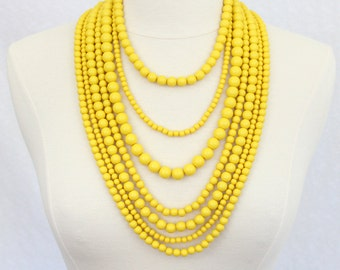 Multi Strand Beaded Necklace Statement Necklace Multi Layered Beads Long Necklace Seven Strand Beads Necklace Yellow