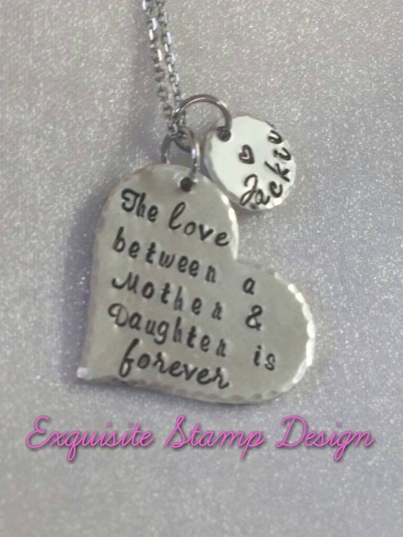 The Love Between a Mother and Daughter - Mother Daughter Necklace - Gift for Mom - Personalized - Hand Stamped - Mothers Day - Daughter Gift