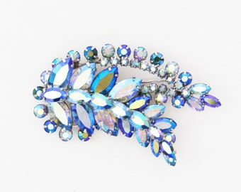 Sherman Blue Rhinestone Brooch - Vintage 1960s Aurora Borealis Something Blue Feather Brooch