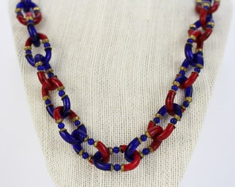 CHANEL Seguso Glass Chain Necklace - Vintage Chanel Necklace - 70s Red and Blue Murano Glass Link Necklace