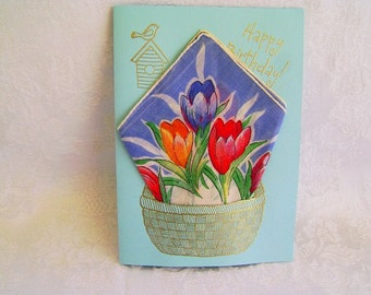 Happy Birthday Greeting Card, Birthday Handkerchief Card, Handmade Greeting Card