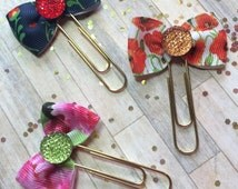 Choice of Florals - Ribbon Bow Planner Clips / Bookmarks
