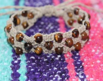 Tiger Eye Macrame Hemp Cuff Bracelet wtih Adjustable Clasp
