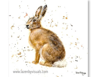 Hudson Hare - A beautiful animal painting by Bree Merryn - Limited edition mounted giclee print