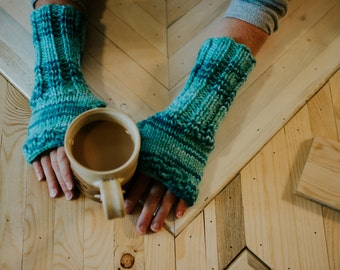 Knit Fingerless Gloves with Thumb Hole