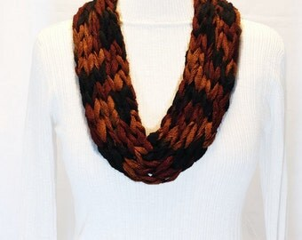 Multi Color Infinity Scarf, Knit Yarn Necklace, Black Brown Rust Knit Cowl, Sashay Yarn Necklace, Winter Scarf, Neck Ware