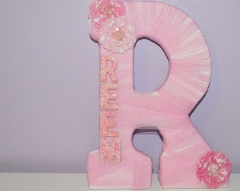 Tulle Wooden Letter, tulle, wooden letter, flower wooden letter, kids bedroom, personalization, kids decor, baby gift, baby nursery