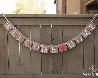 WELCOME HOME banner for Housewarming Party, Military Homecoming Banners, Sign, Signs   Kraft and White with Red Heart