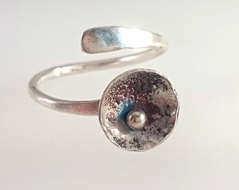 Silver, blue and purples. Handmade designer ring in Sterling silver with vitreous enamel Earthsea collection. Open adjustable ring