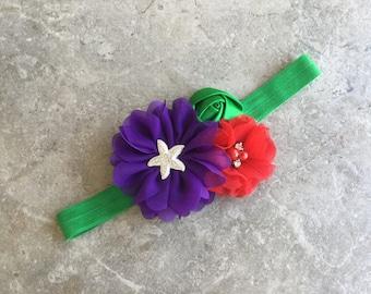 The Ariel headband, Baby Hair Bow, baby headbands, purple green headband, baby girl headband, Little mermaid  headband