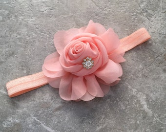 Flower Headband, Peach baby Headband, Newborn headband, baby hair bow, Newborn photo prop, hair accessories,  chiffon rosette headband