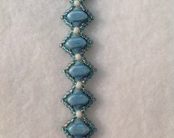 Blue Handwoven Beaded Bracelet