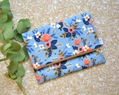 Rifle Fabric Clutch, Blue Floral Foldover Clutch, Fold Over Clutch, Light Blue Bridesmaid Gift, Rifle Paper Co Handbag, Blue Zipper Clutch