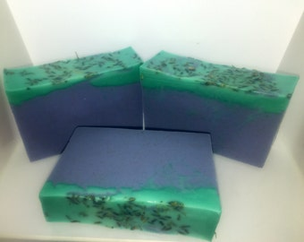 lavender mint handmade soap, wonderful relaxing scent, pretty purple and green soap