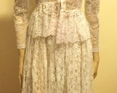 Vintage Gypsy Ivory LACE top & bottom WEDDING ROMANTIC Dress Hippie Boho