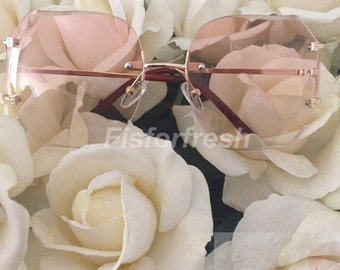 OVERSIZE Classic VINTAGE RETRO Style Pink Yellow Tint Lens Glasses Rimless Gold Frame Coachella | Hipster Retro Glasses | Retro Style | Mod