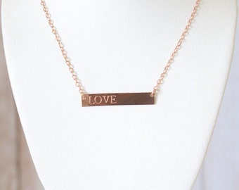 Rose Gold Filled Bar Necklace | Personalized Rose Gold Horizontal Bar Necklace | Hand Stamped Jewelry