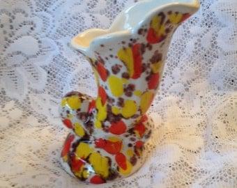 Free Shipping Retro Art Pottery Vase Splattered Cornucopia