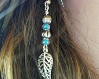 Leaf Earrings - Nickel Free Teal and Silver Silver Leaf Earrings - Hypoallergenic Earrings