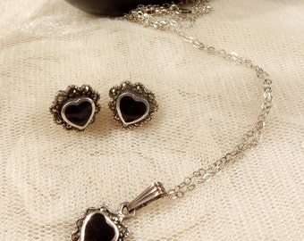 Pretty Vintage Sterling Silver Black Onyx and Marcasite Heart Pendant and Earrings