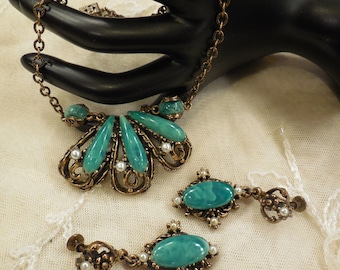 On sale Victorian Revival Unsigned Florenza Necklace and Drop Earrings