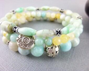 Amazonite Throat Chakra Bracelet Set Sterling Silver Beaded Yoga Bracelets Summer Stacking Bracelets Healing Crystals Energy Jewelry