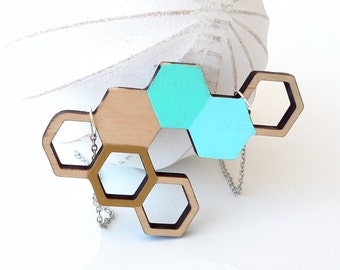 Honeycomb Necklace, Wood Honeycomb Geometric Necklace, Hexagon Necklace - Gold, Mint, and Sky Blue