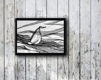 Sailboat - Textile Art, Nautical Art, Contemoprary Art, Fine Art, modern interior, contemporary art, wall hanging, black white
