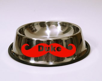 I Mustache You A Question Stainless Steel Dog Bowl