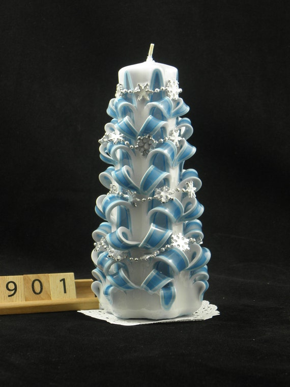 Hand carved candle white and turquoise christmas tree carve