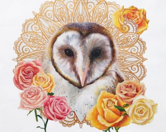 Valentine Giclee Print, Owl Love You Forever