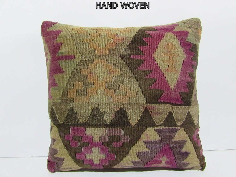 Etsy Pink Throw Pillow : pink decorative pillow green throw pillow striped kilim pillow