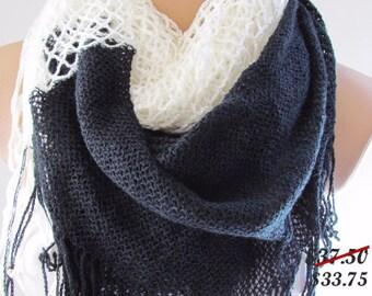 Black and Cream Knitted Fabric Scarf - Shawl Scarf - Winter Fashion Scarf - Circle Scarf- Neck Warmer - Long Tube Scarf - Infinity Scarf