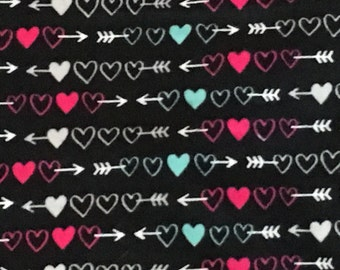 Hot Pink, Turquoise and White Hearts and Arrows Print Flannel Blanket  - Baby Girl