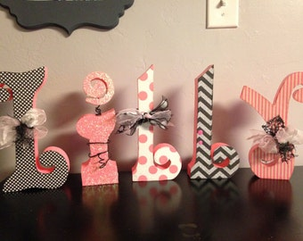Custom wood letters. Nursery letter decor.