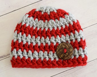 Red and Grey Newborn Baby Hat - Red and Gray - Perfect gift or photo prop