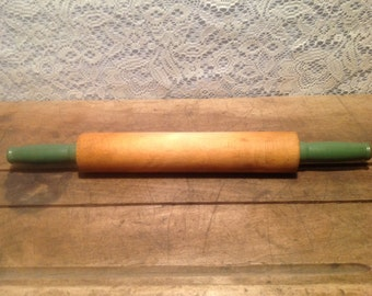 Vintage Wood Rolling Pin with Green Handles