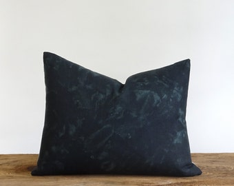 Metallic silver and hand dyed linen pillow stripe