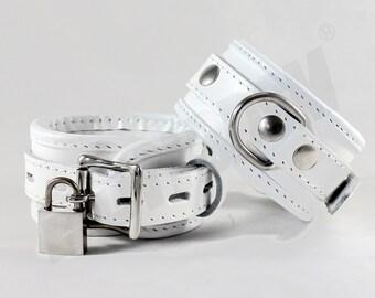 Bondage wrist cuffs, soft padded medical white genuine leather locking cuffs, bdsm fetish restraints, Mature