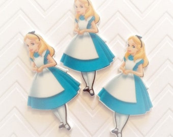 31mm  Alice in Wonderland Flatback Resin Cabochon 4 pcs