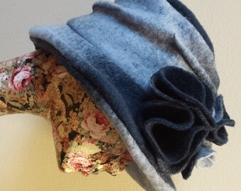 Handmade Navy Blue/Pale Blue Felted Wool Hat With Wide Brim and Cosy Fleece Lining