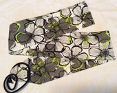 Wrist wraps Black, White, Gray, and Neon Green Hawaiian Print 1 pair