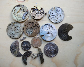 Antique pocket watch Brass parts / Featured / Steampunk supplies / Pocket Watch Movements / Antique Watch movements Steampunk supply Pw39