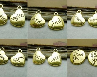 Antique Gold I love you,dad mom daughter sister grandma Family Members Charms Pendants Jewelry Accessories Ac7940