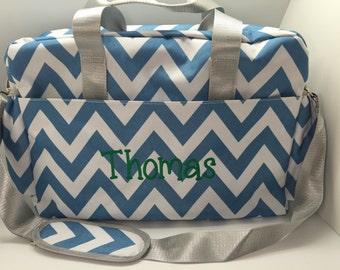 Personalized Diaper Bag, monogrammed bag, baby boy shower gift, personalized baby bag, diaper bag for boys, blue chevron