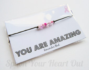 CLEARANCE You Are Amazing Breast Cancer Awareness Affirmation Wish String Bracelet Chronic Illness Spoon Theory Stocking Filler