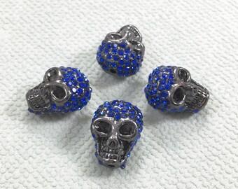 3 pcs Diamonte  Skull Beads Shamballa Skull Bead   Sugar Skull Beads 16*13mm