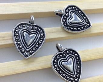 20pcs antique silver heart charms , heart pendants ,love charms