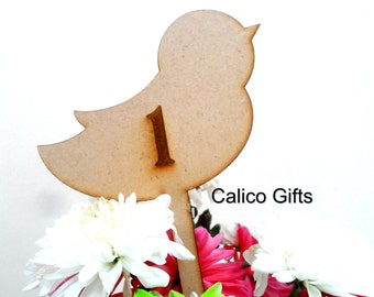 wedding table numbers love bird numbers wooden numbers stick number birds centre pieces